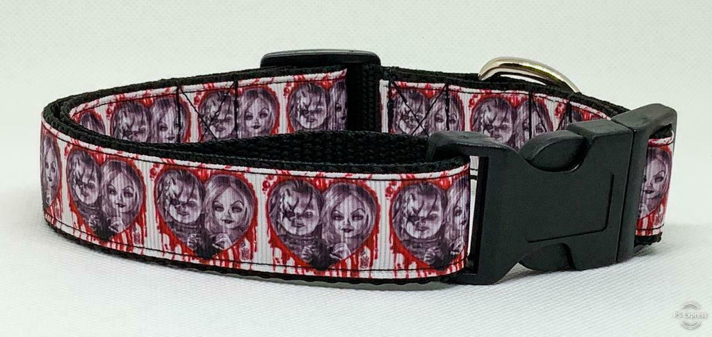 "Chucky & Bride dog collar handmade adjustable buckle collar 1""wide leash - Furrypetbeds"