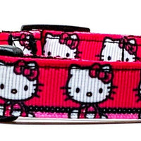 "Hello Kitty dog collar handmade adjustable buckle collar 5/8"" wide or leash - Furrypetbeds"