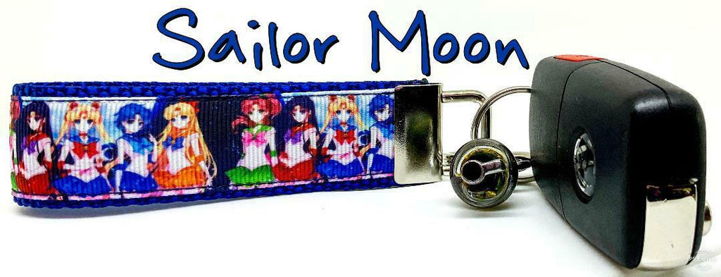 "Sailor Moon Key Fob Wristlet Keychain 1""wide Zipper pull Camera strap handmade - Furrypetbeds"