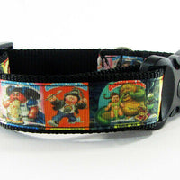 "Garbage Pail Kids dog collar handmade adjustable buckle 1"" wide or leash fabric - Furrypetbeds"