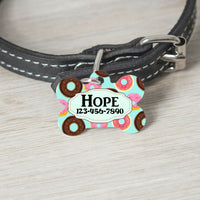 Pet ID Tag Donuts Personalized Custom Double Sided Pet Tag w/name & number - Furrypetbeds