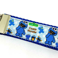 "Cookie Monster Key Fob Wristlet Keychain 1""wide Zipper pull Camera strap - Furrypetbeds"