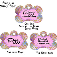 Pet ID Tag Gold Foil Personalized Custom Double Sided Pet Tag w/name & number - Furrypetbeds