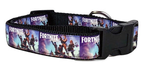 "Fortnite dog collar handmade adjustable buckle collar 1"" wide or leash - Furrypetbeds"