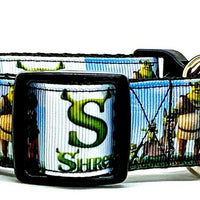 "Shrek dog collar handmade adjustable buckle collar 1""or 5/8"" wide or leash Movie"