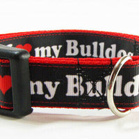 "I Love My Bulldog dog collar Handmade adjustable buckle collar 1""wide or leash - Furrypetbeds"