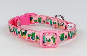 "Cactus cat or small dog collar 1/2""wide adjustable handmade bell or leash - Furrypetbeds"