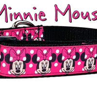 "Minnie Mouse Dog collar handmade adjustable buckle collar 1""wide or leash - Furrypetbeds"