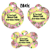 Pet ID Tag Lilly Floral Personalized Custom Double Sided Pet Tag w/name & number - Furrypetbeds