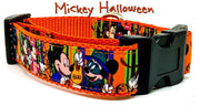"Mickey Halloween dog collar handmade adjustable buckle collar 1""wide or leash - Furrypetbeds"