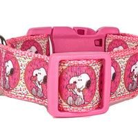 "Snoopy dog collar handmade adjustable buckle collar 1"" wide or leash $12 collars - Furrypetbeds"