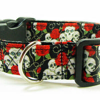 "Skulls dog collar Handmade adjustable buckle collar 1"" wide or leash - Furrypetbeds"