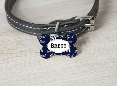 Pet ID Tag New York Yankees Personalized Custom Double Sided Pet Tag Football - Furrypetbeds