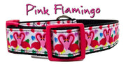 "Pink Flamingo dog collar Handmade adjustable buckle 1"" or 5/8"" wide or leash - Furrypetbeds"