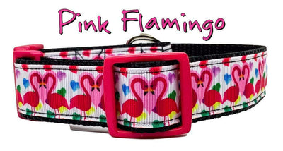 Pink Flamingo dog collar Handmade adjustable buckle 1