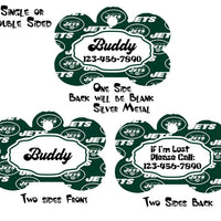 Pet ID Tag New York Jets NFL Personalized Custom Double Sided Pet Tag w/name &no - Furrypetbeds