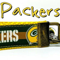 "Green Bay Packers Key Fob Wristlet Keychain 1""wide Zipper pull Camera strap - Furrypetbeds"