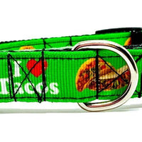 "I Love Tacos dog collar handmade adjustable buckle collar 5/8"" wide leash - Furrypetbeds"