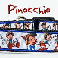 "Pinocchio dog collar handmade adjustable buckle collar 1"" or 5/8"" wide or leash"