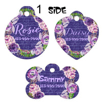 Pet ID Tag Floral Personalized Custom Double Sided Pet Tag w/name & number - Furrypetbeds