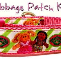 "Cabbage Patch Kids dog collar handmade adjustable buckle collar 1""wide or leash - Furrypetbeds"