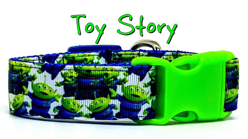 "Toy Story Aliens dog collar handmade adjustable buckle 1"" or 5/8"" wide or leash"