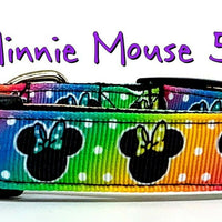 "Minnie Mouse cat & small dog collar 1/2"" or 5/8"" wide adjustable bell or leash"