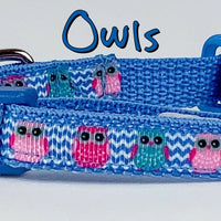 "Owls cat or small dog collar 1/2"" wide adjustable buckle handmade bell or leash - Furrypetbeds"