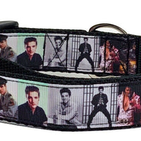 "Elvis dog collar handmade adjustable buckle collar 1"" wide or leash fabric $12 - Furrypetbeds"