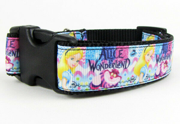"Alice in Wonderland dog collar handmade adjustable buckle collar 1""wide or leash - Furrypetbeds"
