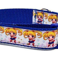 "Sailor Moon dog collar, handmade, adjustable, buckle collar,1"" wide, leash - Furrypetbeds"