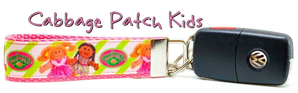 "Cabbage Patch Key Fob Wristlet Keychain 1""wide Zipper pull Camera strap handmade"