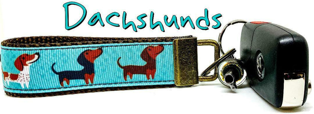 "Dachshunds Key Fob Wristlet Keychain 1""wide Zipper pull Camera strap handmade - Furrypetbeds"