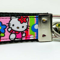 "Hello Kitty Key Fob Wristlet Keychain 1""wide Zipper pull Camera strap handmade"