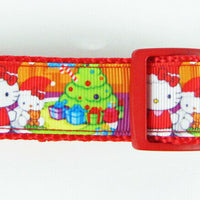 "Hello Kitty Christmas dog collar Handmade adjustable buckle collar 1"" wide leash - Furrypetbeds"
