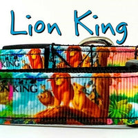 "The Lion King dog collar handmade adjustable buckle collar 5/8""wide or leash - Furrypetbeds"