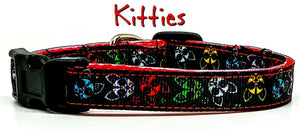 "Kitties cat or small dog collar 1/2"" wide adjustable handmade bell or leash"