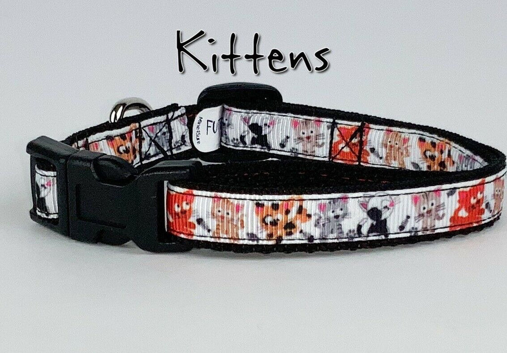 "Kittens cat & small dog collar 1/2"" wide adjustable handmade bell leash - Furrypetbeds"