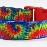 "Tie Dye, dog collar, handmade, adjustable, buckle collar, 1"" wide, or leash - Furrypetbeds"