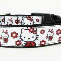 "Hello Kitty dog collar Handmade adjustable buckle collar 1"" wide or leash $12 - Furrypetbeds"