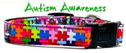 "Autism Awareness dog collar handmade adjustable buckle collar 5/8"" wide - Furrypetbeds"