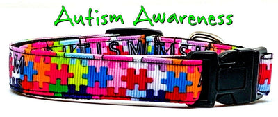 Autism Awareness dog collar handmade adjustable buckle collar 5/8