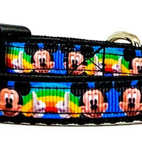 "Mickey Mouse cat & small dog collar 1/2"" wide adjustable handmade bell or leash"