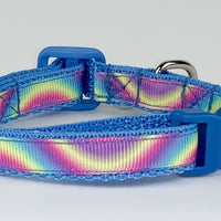 "Rainbow cat & small dog collar 1/2"" wide adjustable buckle handmade bell leash - Furrypetbeds"