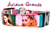 "Ariana Grande dog collar Handmade adjustable buckle 1""wide or leash Pop music - Furrypetbeds"