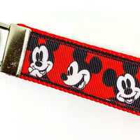 "Mickey Mouse Key Fob Wristlet Keychain 1""wide Zipper pull Camera strap handmade - Furrypetbeds"