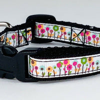 "Flowers cat or small dog collar 1/2"" wide adjustable handmade bell Or leashes - Furrypetbeds"