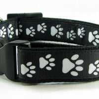 "Paw Print dog collar handmade adjustable buckle collar 1"" wide or leash fabric - Furrypetbeds"