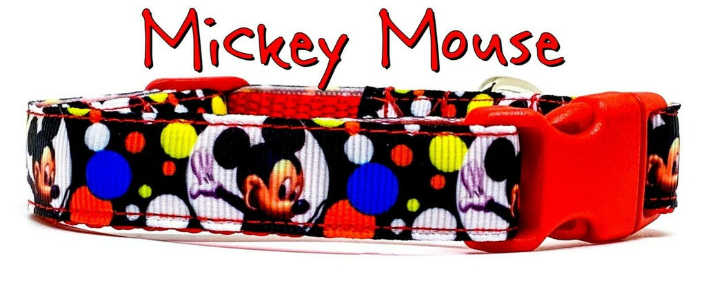 "Mickey Mouse dog collar handmade adjustable buckle collar 5/8""wide or leash - Furrypetbeds"