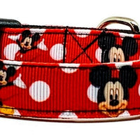"Mickey Mouse Dog collar handmade adjustable buckle collar 5/8"" wide leash fabric - Furrypetbeds"